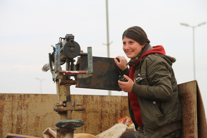 A fighter with the YPJ, the women's branch of the Syrian Kurdish militia, on March 3, 2015, in Tal Hamis, Rojava, Syria.