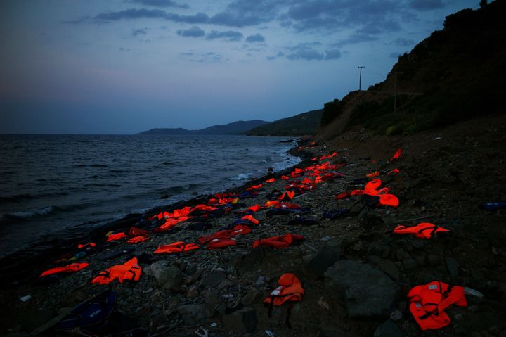 Orange life vests litter the shores of Lesbos, Greece.Over the last year, the small island has seen hundreds of thousan
