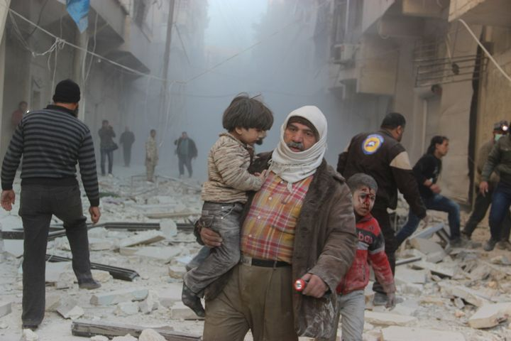 Russian airstrikes have pounded rebel-held territories around Syria, including eastern parts of Aleppo city.