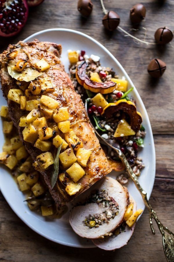 """<strong>Get the <a href=""""http://www.halfbakedharvest.com/pineapple-glazed-pork-roast-with-bacon-wild-rice-stuffing/"""">Pineappl"""