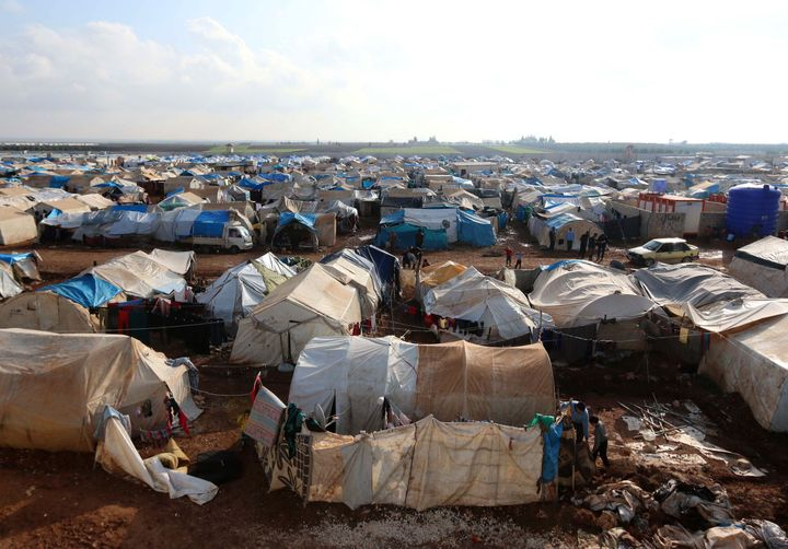 Thousands have gathered in camps near the Turkish border, including at Bab al-Salam.