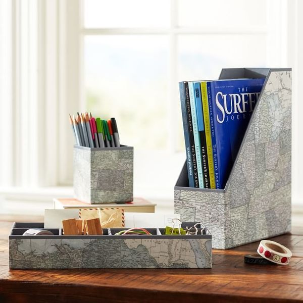 "Black &amp; White Map Desk Organizers, $29.99 at <a href=""http://www.pbteen.com/products/preppy-paper-desk-accessories-black-"