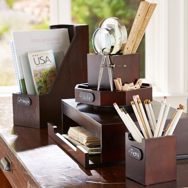 "Wood Desk Accessories, $15.50 at <a href=""http://www.pbteen.com/products/wooden-desk-accessories-boys/?pkey=cstudy-accessorie"