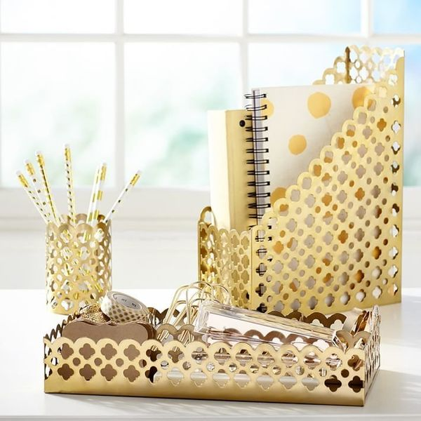 "Golden Glam Desk Accessories, $12 at <a href=""http://www.pbteen.com/products/golden-glam-desk-accessories/?pkey=cstudy-access"