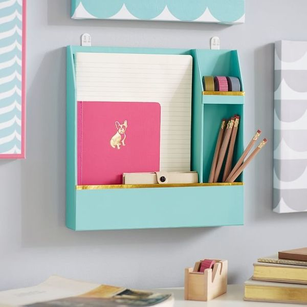 "Wall Organizer, $22 at <a href=""http://www.pbteen.com/products/paper-wall-organizers/?pkey=cdorm-wall-decals-decor&amp;&amp;c"