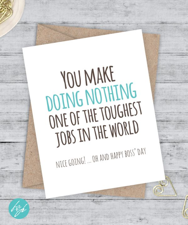 "Funny Boss Day Card, $4.25 at <a href=""https://www.etsy.com/listing/252161685/funny-boss-day-card-funny-boss-card-you?ga_orde"