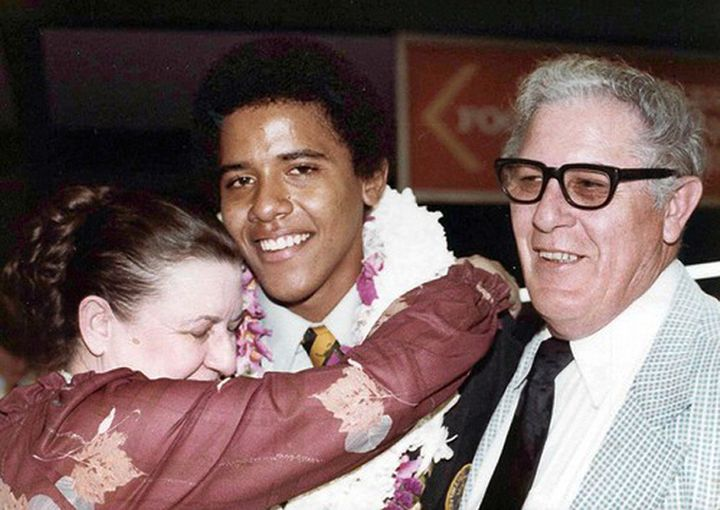 Obama in 1979 during his high school graduation in Hawaii with his maternal grandparents.