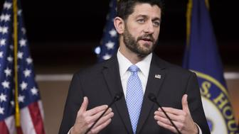 U.S. House Speaker Paul Ryan, a Republican from Wisconsin, speaks during a press conference on Capitol Hill in Washington, D.C., U.S., on Thursday, Dec. 17, 2015. With late-night texts to his members and an open-door policy for his most hard-to-please colleagues, Ryan was determined to keep the usual Republican infighting from derailing his maiden government spending deal as U.S. House speaker. Photographer: Drew Angerer/Bloomberg via Getty Images