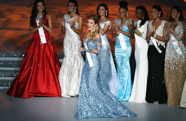 The New Miss World, Mireia Lalaguna Rozo of Spain, reacts during the Miss World Grand Final in Sanya, China, on Dec. 19, 2015