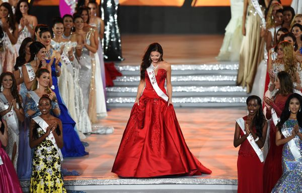 Sofia Nikitchuk, Miss Russia, reacts after entering the semi final at the Miss World Grand Final in Sanya, in southern China'