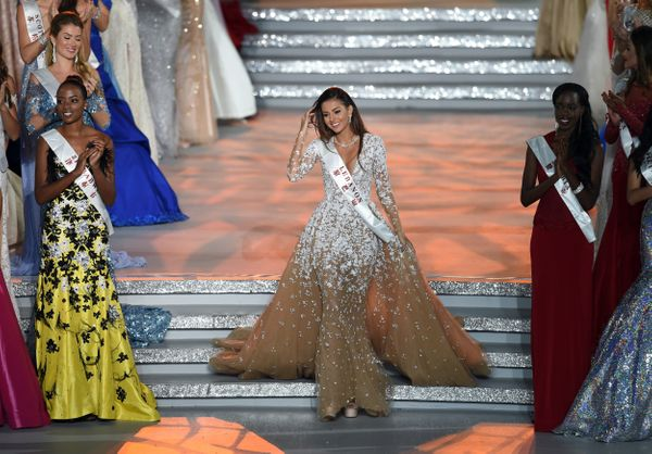 Valerie About Chacra, Miss Lebanon, reacts after entering the semi final at the Miss World Grand Final in Sanya, in southern