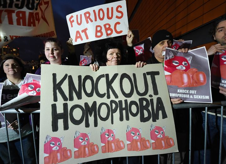 Lesbian, Gay, Bisexual and Transgender supporters protest at the BBC Sports Personality of the Year awards taking place at th