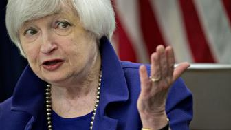 Janet Yellen, chair of the U.S. Federal Reserve, speaks during a news conference following a Federal Open Market Committee (FOMC) meeting in Washington, D.C., U.S., on Wednesday, Dec. 16, 2015. The Federal Reserve raised interest rates for the first time in almost a decade in a widely telegraphed move while signaling that the pace of subsequent increases will be gradual and in line with previous projections. Photographer: Andrew Harrer/Bloomberg via Getty Images