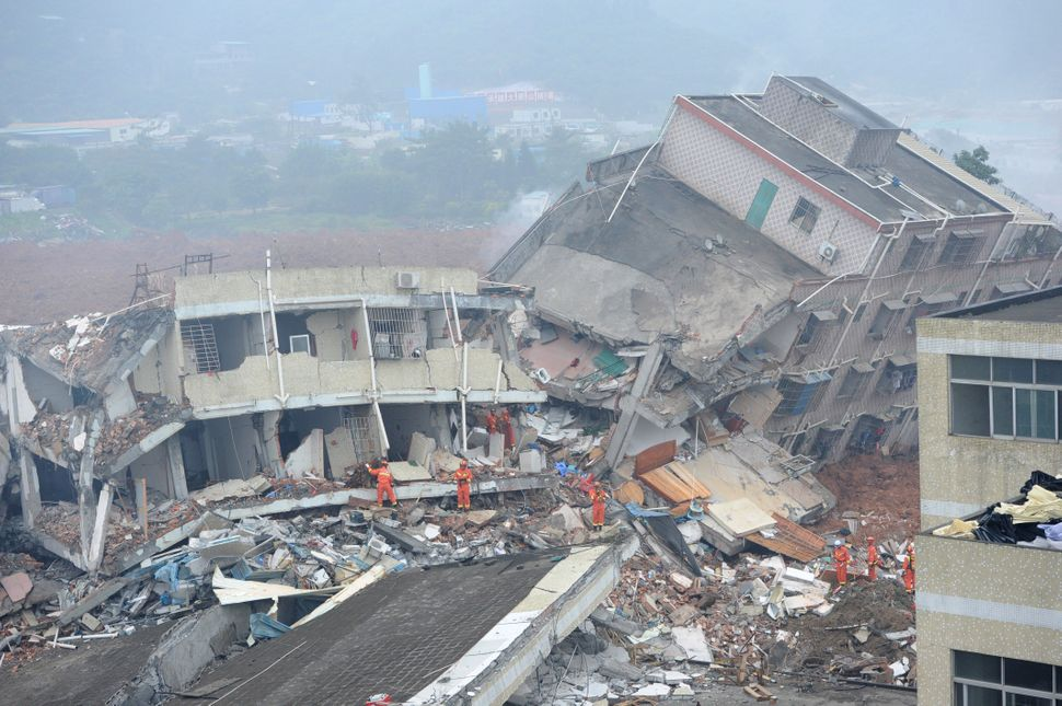 A building collapses in Shenzhen.