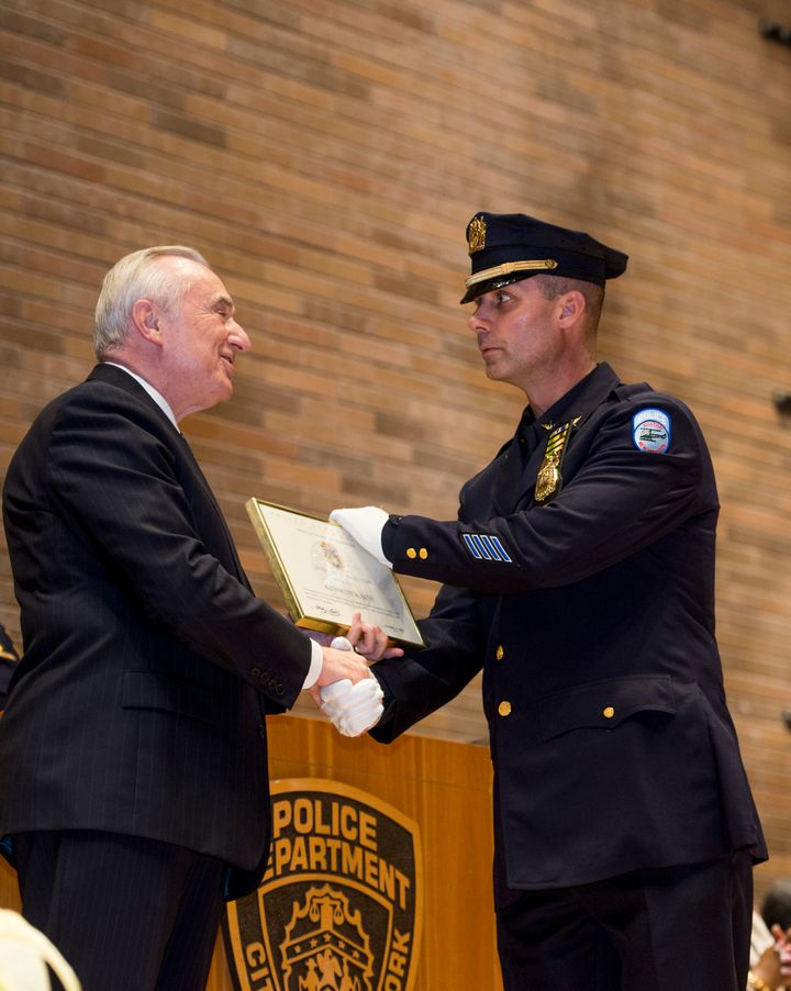 NYPD OfficerKenneth Boss gets promoted to sergeant on Dec.17, 2015, 17 years after hiscontroversialsh