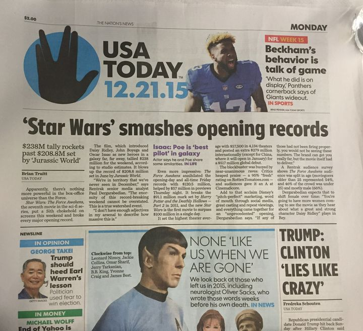 """USA Today found multiple ways to plaster their front page with """"Star Trek"""" references on Monday, despite the lead story being"""