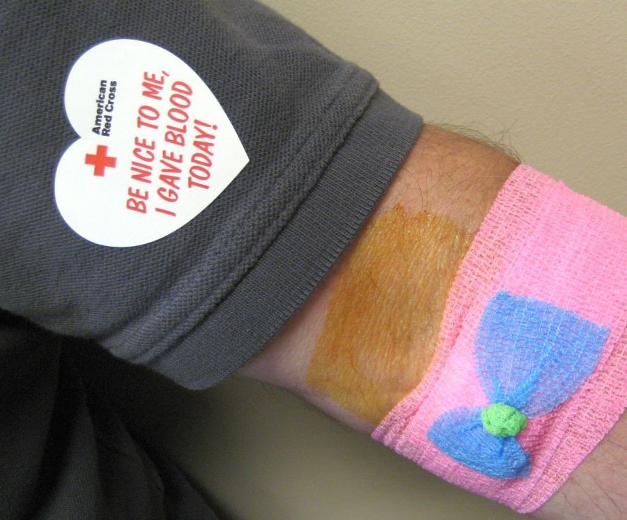 Another nice thing about giving blood via The American Red Cross:  they decorate you!  This arm happens to belong to coach31313, one of our Flickr friends.