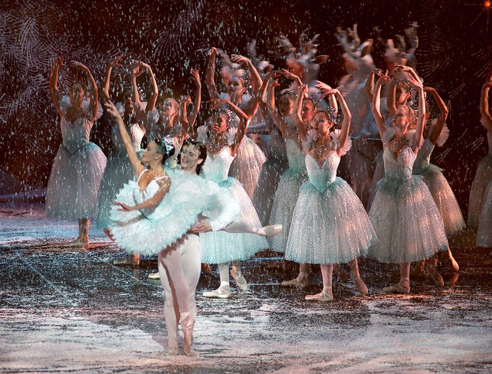 "The Boston Ballet's ""Nutcracker"" performs at the Wang Center. In a scene from Act 1, Scene 3, The Snow Queen and King as perf"