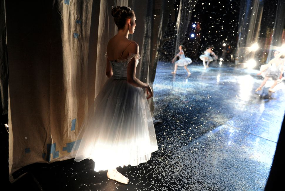 "Snowflake Sonya Davenport waits off stage during a production of ""The Nutcracker"" by the Colorado Ballet in 2010."