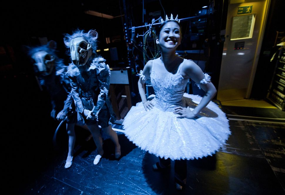 "Dancers of the English National Ballet wait in the wings during a performance of ""The Nutcracker"" at the Coliseum in 2011."