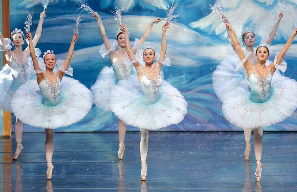 "Members of the Moscow Ballet perform ""The Waltz of the Snowflakes"" on stage during the Moscow Ballet's Great Russian Nutcrack"