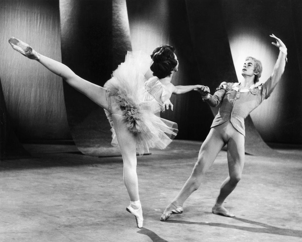 Russian ballet dancer Rudolf Nureyev dances with Rosella Hightower during a dress rehearsal at the B.B.C. television studios