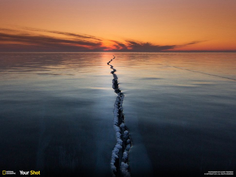 """Ice on Lake Baikal is a very interesting phenomenon,"" writes Alexey Trofimov. ""Ice ridges, cracks, tears,"