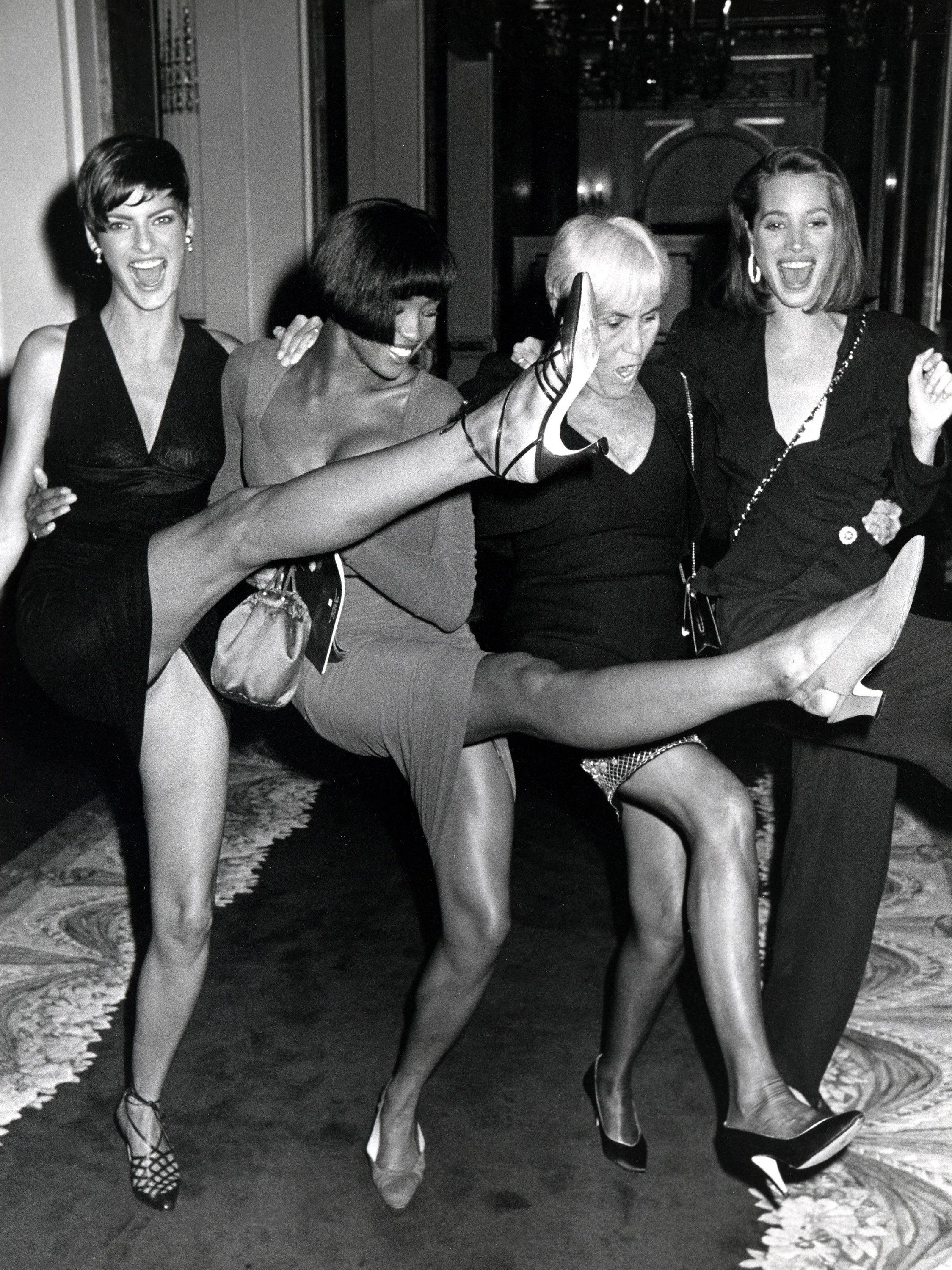 Linda Evangelista, Naomi Campbell, Polly Mellon, and Christy Turlington (Photo by Ron Galella/WireImage)