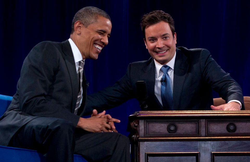 President Barack Obama sits with Jimmy Fallon during commercial break as he participates in a taping of the Jimmy Fallon Show