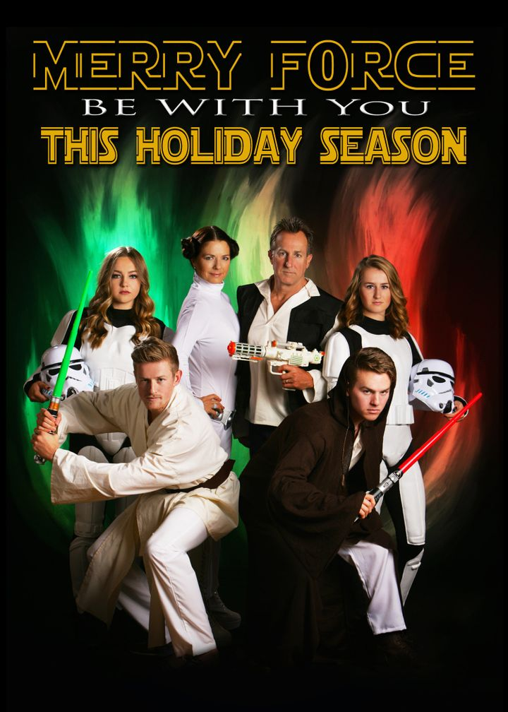 this familys star wars holiday card is a force to reckon with