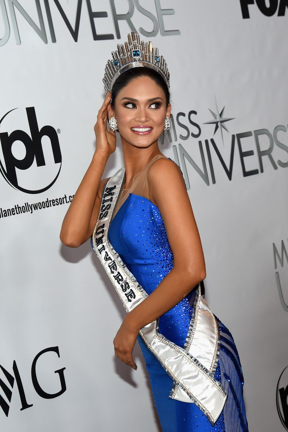 LAS VEGAS, NV - DECEMBER 20:  Miss Philippines 2015, Pia Alonzo Wurtzbach, poses for photos after winning the 2015 Miss Unive