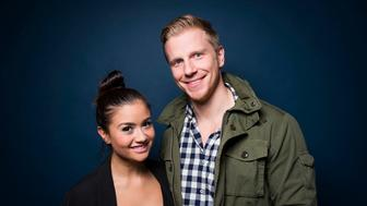 NEW YORK, NY - DECEMBER 4:  Sean Lowe and Catherine Giudici from the Bachelor TV show stop by Huffington Post for a podcast taping in New York on Friday Dec. 4, 2015. (Photo by Damon Dahlen, Huffington Post) *** Local Caption ***