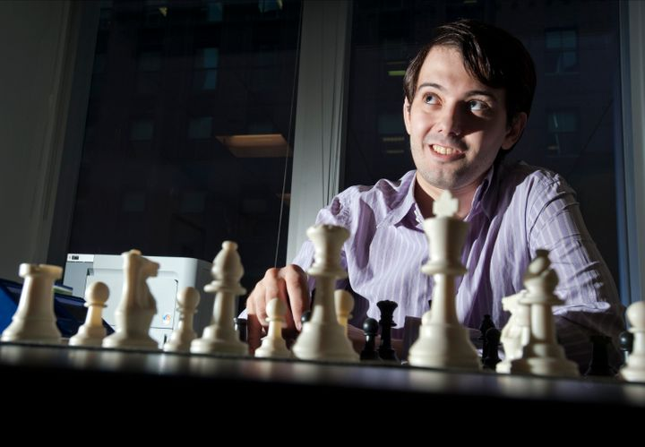 Martin Shkreli, chief investment officer of MSMB Capital Management, sits behind a chess board in New York, U.S., on Wednesda