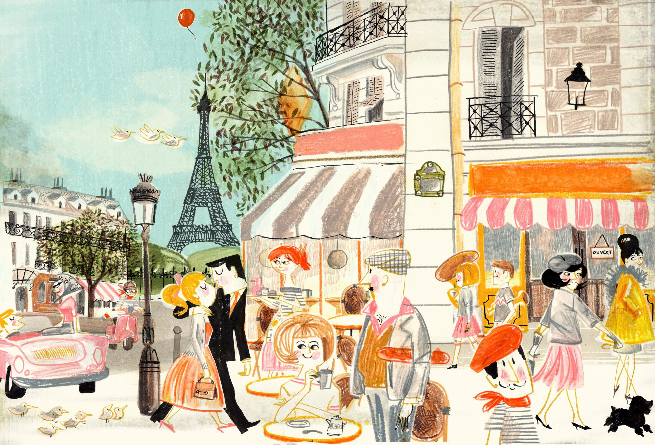 People shopping and sitting at sidewalk cafe in Paris in summer