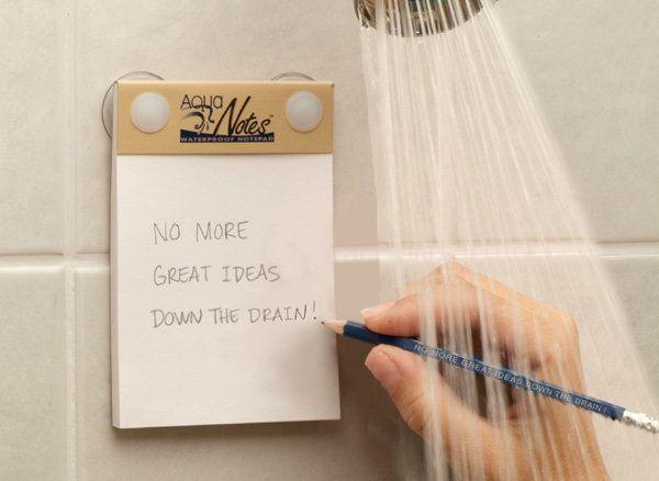 "AquaNotes Waterproof Notepad, $7 at <a href=""http://www.myaquanotes.com/OrderNowSee5PackSpecial/tabid/92/Default.aspx"" target"