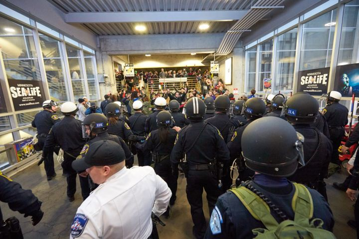 BLOOMINGTON, MN - DECEMBER 20: Thousands of protesters from the group 'Black Lives Matter' disrupt holiday shoppers on Decemb