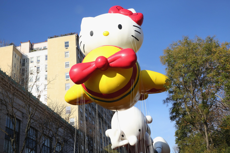 NEW YORK, NY - NOVEMBER 26:  Hello Kitty balloon during the 89th Annual Macy's Thanksgiving Day Parade on November 26, 2015 in New York City.  (Photo by Mireya Acierto/FilmMagic)