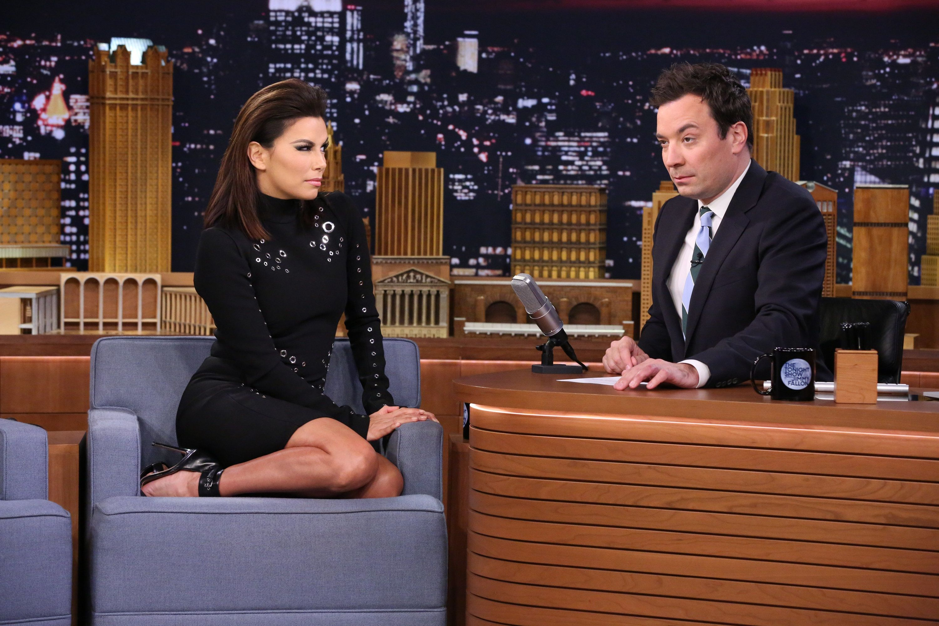 THE TONIGHT SHOW STARRING JIMMY FALLON -- Episode 0381 -- Pictured: (l-r) Actress Eva Longoria during an interview with host Jimmy Fallon on December 4, 2015 -- (Photo by: Douglas Gorenstein/NBC/NBCU Photo Bank via Getty Images)