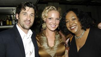 Patrick Dempsey, Katherine Heigl and Shonda Rhimes (creator) of 'Grey's Anatomy' (Photo by Carley Margolis/FilmMagic)