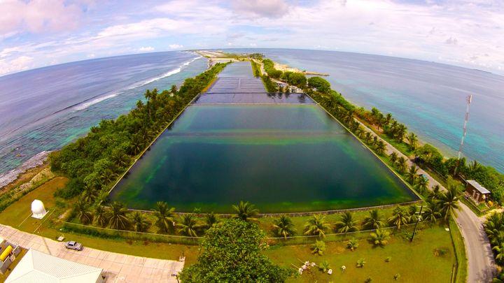 The freshwater reservoir on Majuro Atoll.