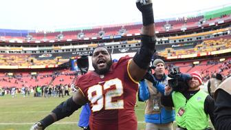 LANDOVER, MD - DECEMBER, 20: Washington Redskins defensive end Chris Baker (92) celebrates their win over the Buffalo Bills at FedEx field on December 20, 2015 in Landover, MD. (Jonathan Newton / The Washington Post via Getty Images)