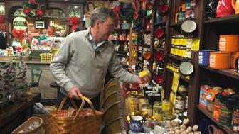 Jeb Bush shops for Christmas gifts at Zed's General Store in North Conway, New Hampshire.