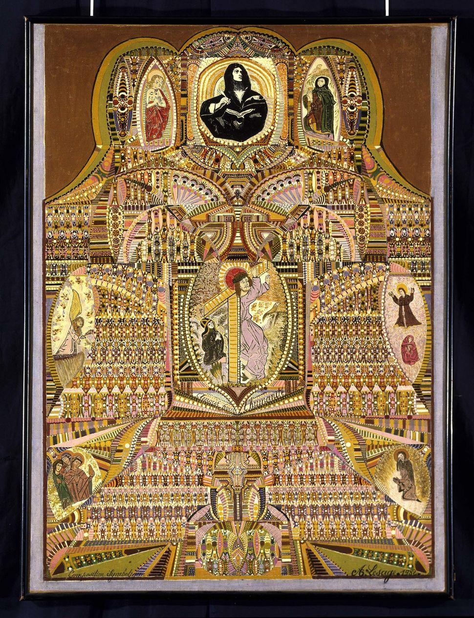 Lesage Augustin, Composition symbolique, amour por l'humanite, 1932, Pas-de-Calais, France, oil on canvas, Collection de l'Ar