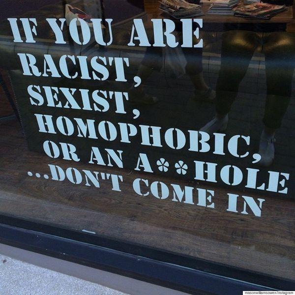 "A hair salon owner <a href=""https://www.huffpost.com/entry/gay-hair-salon-sign_n_7561994"">made a public declaration against d"