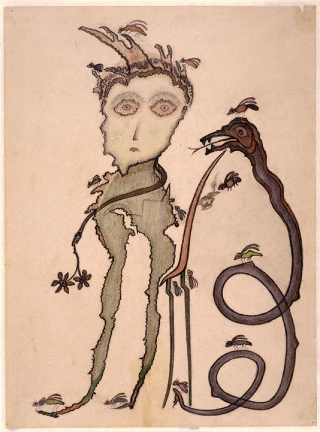 """Heinrich-Anton Müller, """"Untitled"""" (circa 1927-1929), colored pencil on drawing paper, 22 5/8 x 16 3/4 inches"""