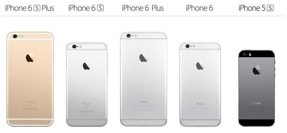 A comparison of Apple's iPhones. Notice that the iPhone 5S is a little smaller than the new iPhone 6 and 6S baseline devices.