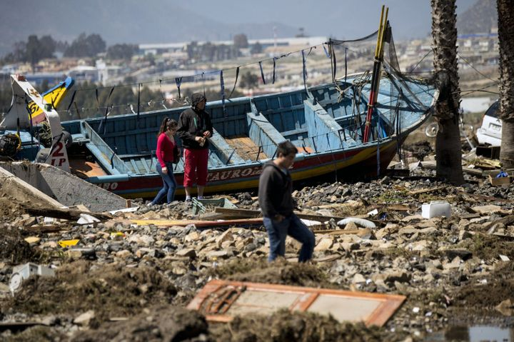 The aftermath of a tsunamiin Coquimbo, Chile, after an 8.3-magnitude earthquakestruckon September 17, 2015.