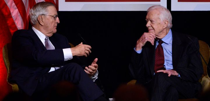 Mondale with former President Jimmy Carter at a gala in Mondale's honoron Oct.20, 2015.