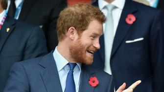 LONDON, UNITED KINGDOM - OCTOBER 31: (EMBARGOED FOR PUBLICATION IN UK NEWSPAPERS UNTIL 48 HOURS AFTER CREATE DATE AND TIME) Prince Harry and Prince Philip, Duke of Edinburgh attend the 2015 Rugby World Cup Final match between New Zealand and Australia at Twickenham Stadium on October 31, 2015 in London, England. (Photo by Max Mumby/Pool/Indigo/Getty Images)