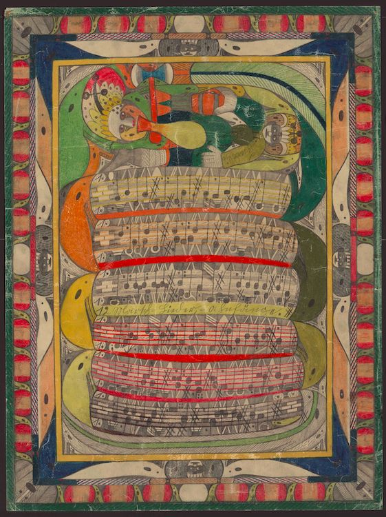 Adolf Wolfli, Untitled (Saint Adolph bitten in the leg by the snake), 1921, the Waldau Clinic, Bern, Switzerland, colored pen